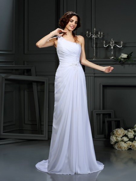 A-Line/Princess One-Shoulder Pleats Wedding Dress with Long Chiffon