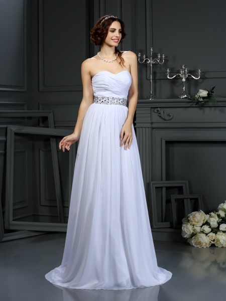 A-Line/Princess Sweetheart Beading Wedding Dress with Long Chiffon