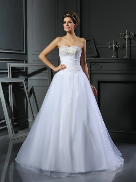 Ball Gown Sweetheart Beading Long Satin Wedding Dress