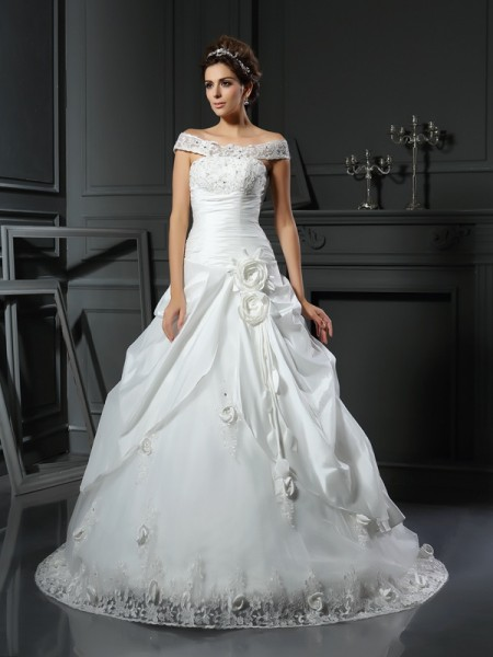 Ball Gown Long Satin Wedding Dress