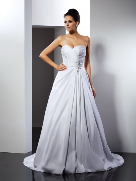 A-Line/Princess Sweetheart Ruffles Sleeveless Court Train Long Satin Wedding Dresses