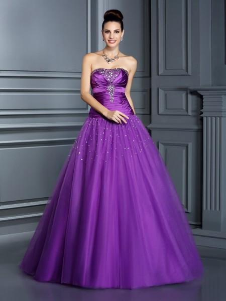 Ball Gown Strapless Long Taffeta Quinceanera Dress