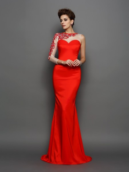 Trumpet/Mermaid High Neck Embroidery Long Elastic Woven Satin Dress
