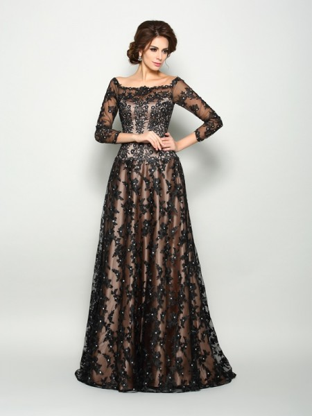 A-Line/Princess Lace Long Satin Mother of the Bride Dress