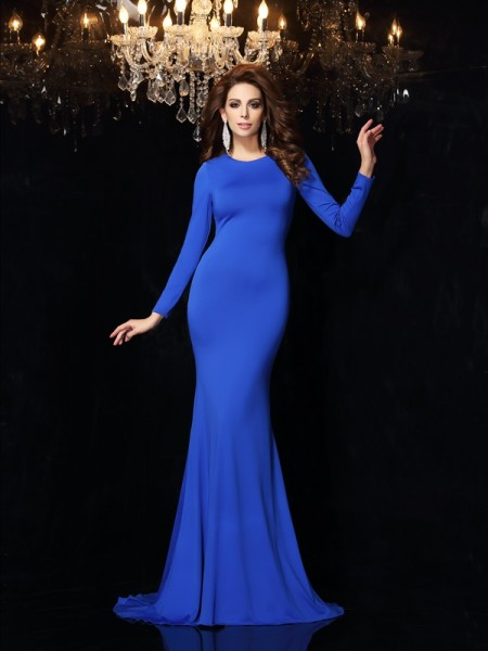 Trumpet/Mermaid Scoop Long Sleeves Long Spandex Dress