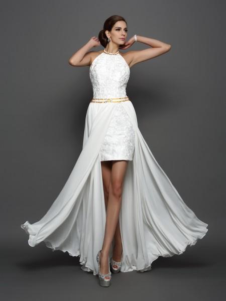 A-Line/Princess High Neck Lace Wedding Dress with Long Chiffon