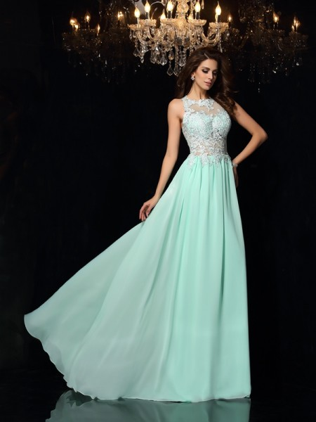 A-Line/Princess High Neck Applique Dress with Long Chiffon