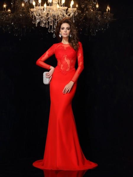 Sheath/Column Scoop Lace Long Sleeves Dress with Long Chiffon