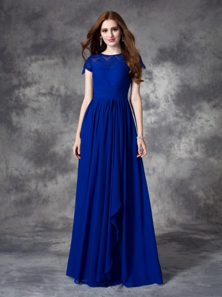A-line/Princess Bateau Lace Bridesmaid Dress with Long Chiffon