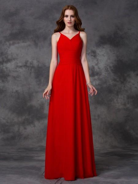 A-line/Princess Spaghetti Straps Ruffles Bridesmaid Dress with Long Chiffon