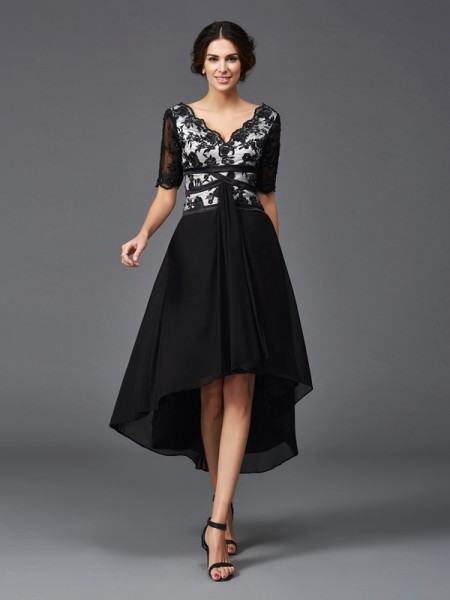 A-Line/Princess V-neck Lace 1/2 Sleeves High Low Chiffon Dress