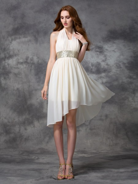 A-line/Princess Halter Sequin High Low Chiffon Cocktail Dress