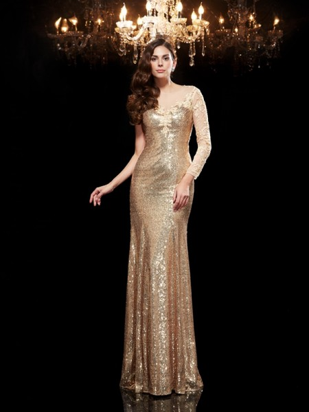 Trumpet/Mermaid Scoop Lace Long Sequins Dress