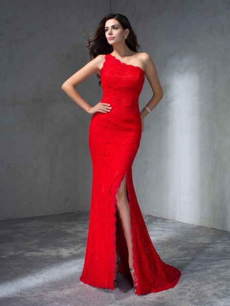 Trumpet/Mermaid One-Shoulder Long Lace Dress