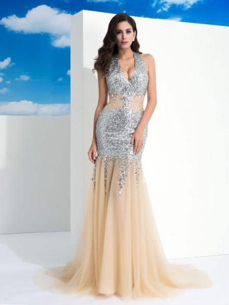 Sheath/Column Halter Paillette Long Net Dress