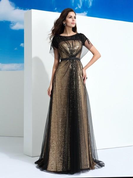 A-Line/Princess Sheer Neck Paillette Short Sleeves Long Net Dress