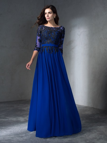 A-Line/Princess Scoop Applique Dress with Long Chiffon