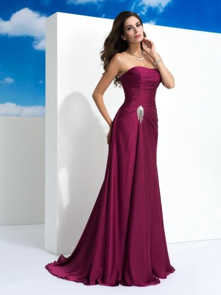 A-Line/Princess Strapless Pleats Long Satin Chiffon Dress