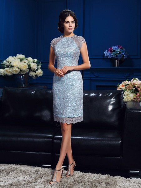 Sheath/Column Scoop Lace Short Sleeves Short Satin Mother of the Bride Dress