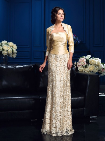 A-Line/Princess Strapless Lace Long Lace Mother of the Bride Dress