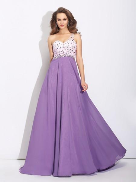 A-Line/Princess One-Shoulder Crystal Dress with Long Chiffon