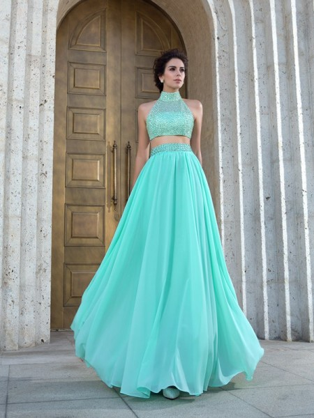 A-Line/Princess High Neck Beading Chiffon Two Piece Dress