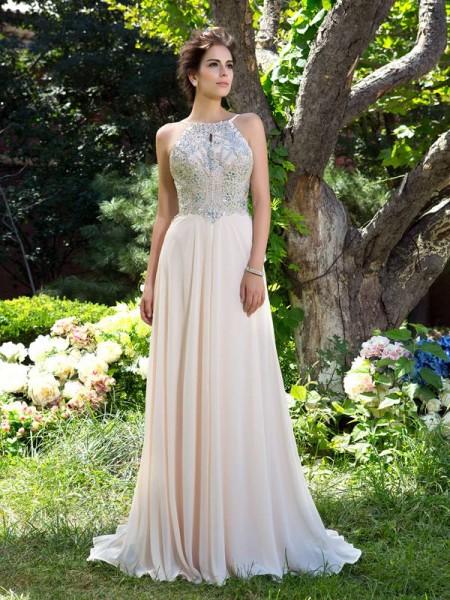 A-Line/Princess Spaghetti Straps Beading Chiffon Dress