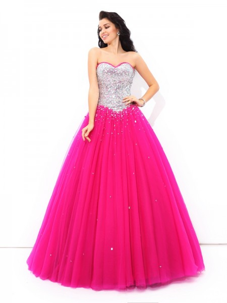 Ball Gown Beading Sweetheart Satin Quinceanera Dress