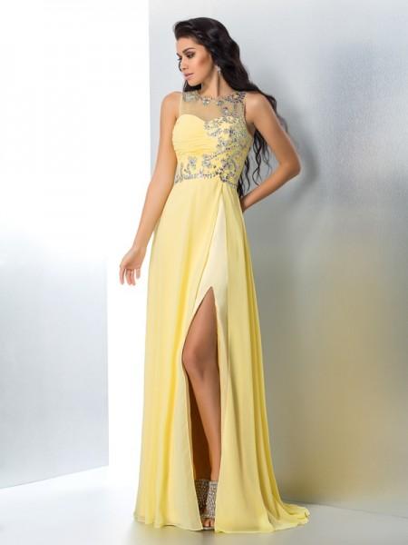 A-Line/Princess Sheer Neck Beading Chiffon Dress
