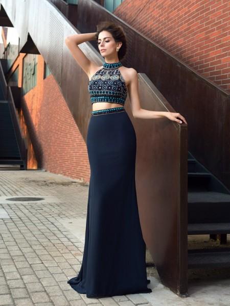 Sheath/Column High Neck Beading Chiffon Two Piece Dress