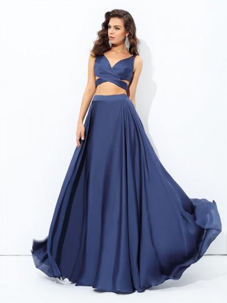 A-line/Princess Straps Satin Chiffon Two Piece Dress