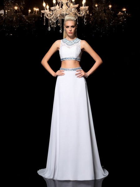 A-Line/Princess Jewel Beading Chiffon Two Piece Dress