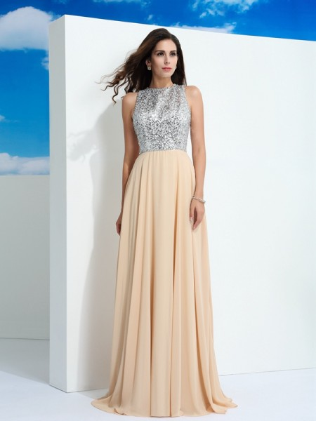 A-Line/Princess Scoop Paillette Chiffon Dress