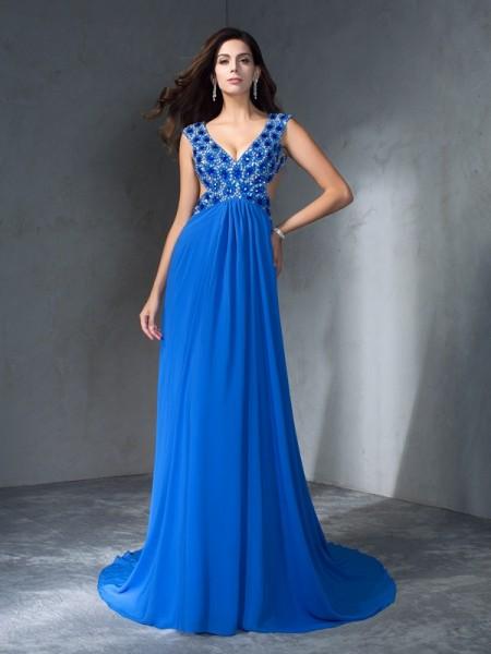 A-Line/Princess V-neck Sequin Chiffon Dress