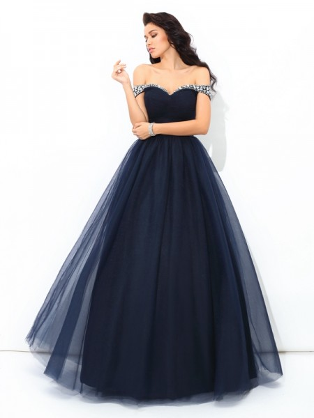 Ball Gown Off-the-Shoulder Beading Long Net Quinceanera Dress