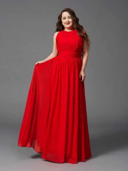 A-Line/Princess Jewel Ruched Chiffon Plus Size Dress