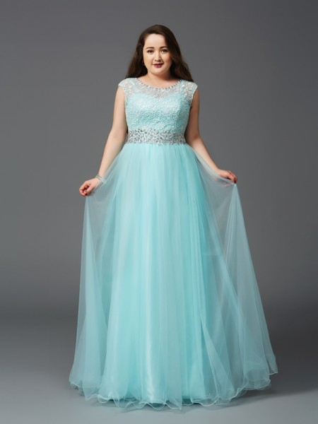 A-Line/Princess Scoop Sleeveless Long Net Plus Size Dresses