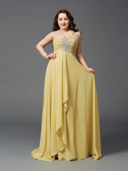 A-Line/Princess One-Shoulder Rhinestone Chiffon Plus Size Dress
