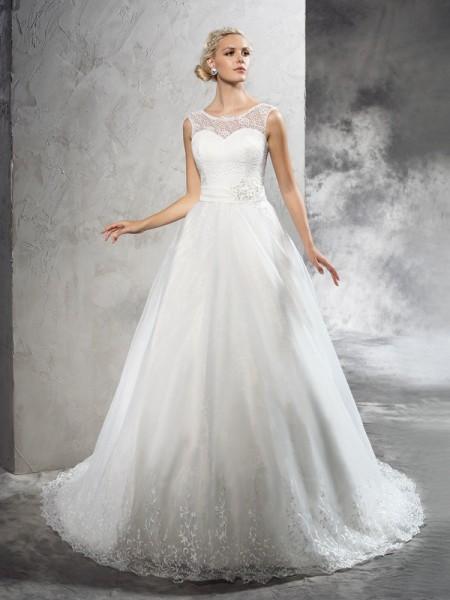 Ball Gown Sheer Neck Sash/Ribbon/Belt Long Net Wedding Dress