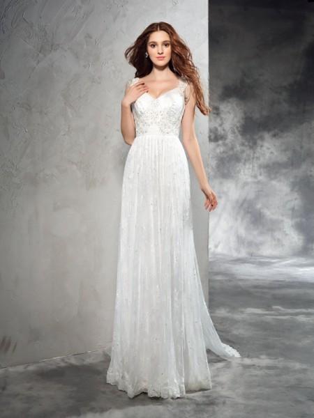 A-Line/Princess Straps Lace Lace Wedding Dress