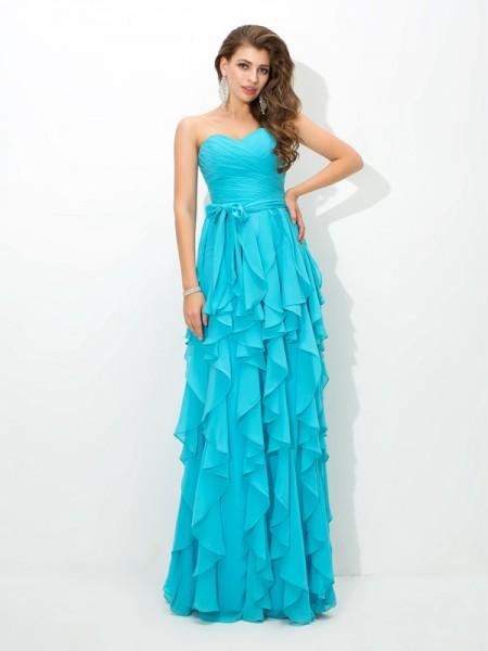 A-Line/Princess Sweetheart Layers Chiffon Bridesmaid Dress