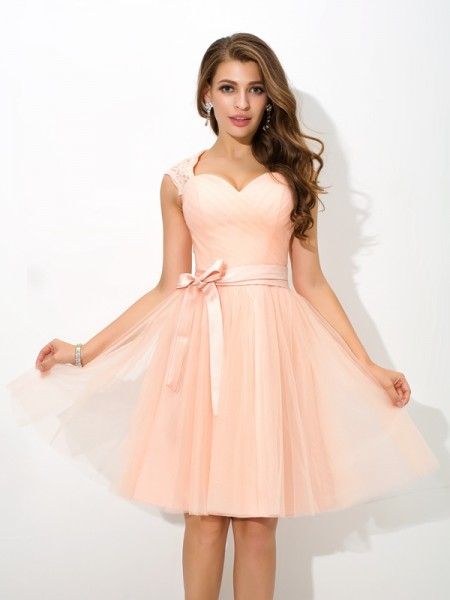 A-Line/Princess Straps Sash/Ribbon/Belt Short Net Bridesmaid Dress