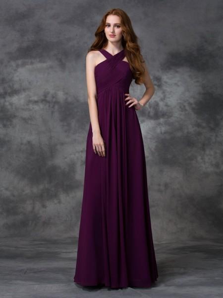 A-line/Princess Straps Ruched Chiffon Bridesmaid Dress