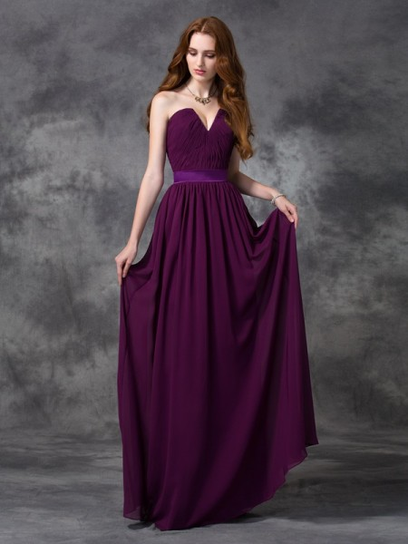 A-line/Princess Sweetheart Ruched Chiffon Bridesmaid Dress
