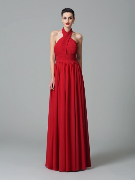 A-Line/Princess Halter Ruffles Chiffon Bridesmaid Dress