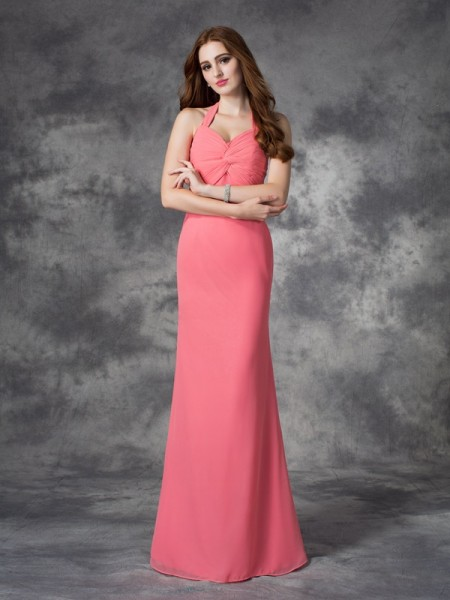 Sheath/Column Halter Ruched Chiffon Bridesmaid Dress
