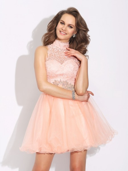 A-Line/Princess High Neck Beading Short Net Dress