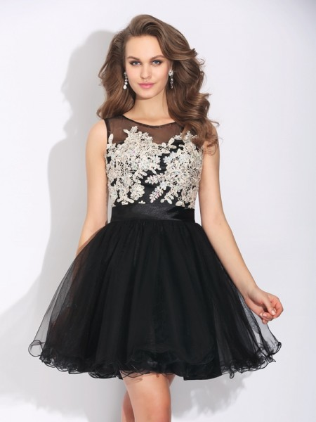 A-Line/Princess Scoop Ruffles Short Net Dress