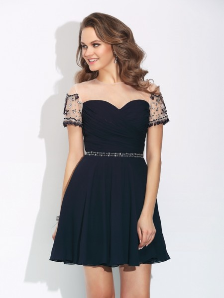 A-Line/Princess Jewel Beading Short Sleeves Short Chiffon Dress