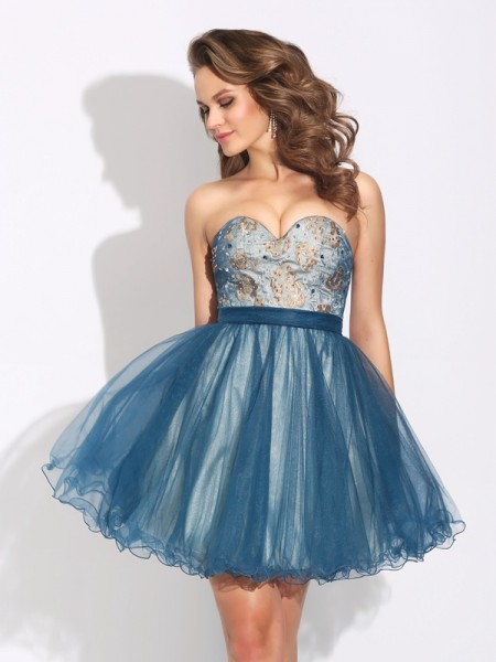 A-Line/Princess Sweetheart Ruffles Short Net Dress
